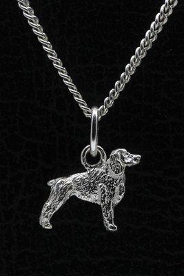 Zilveren Engelse springer spaniel ketting hanger - klein
