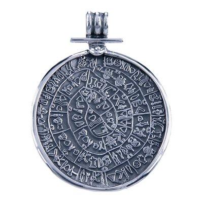 Zilveren Schijf van Festos ketting hanger - groot