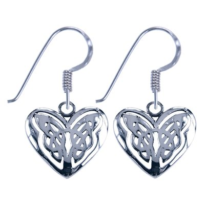 Zilveren Keltisch hart symbool oorhanger oorbel