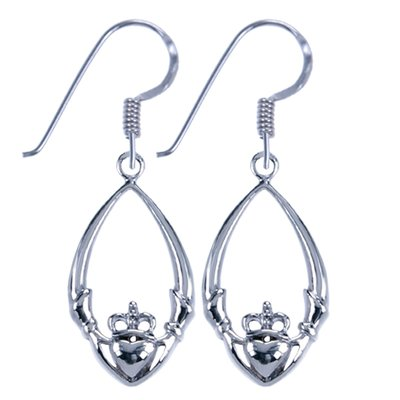 Zilveren Keltische Claddagh ovaal symbool oorhanger oorbel