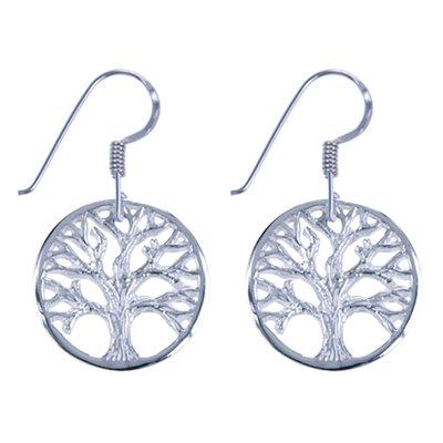 Zilveren Levensboom cirkel symbool oorhanger oorbel