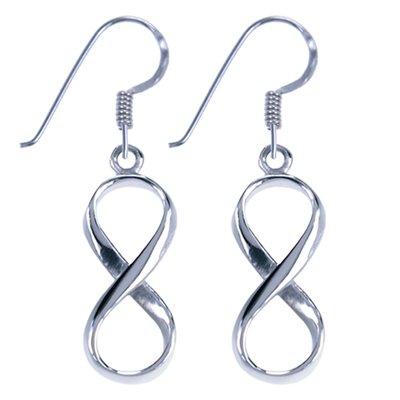 Zilveren Lemniscaat Infinity symbool oorhanger oorbel