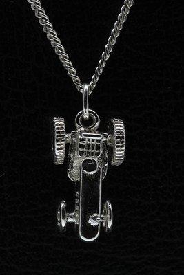 Zilveren Tractor ketting hanger - massief