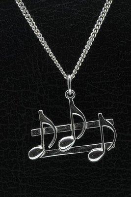 Zilveren Notenbalk ketting hanger
