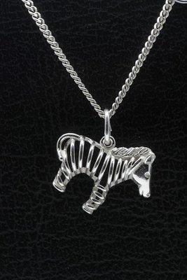 Zilveren Zebra open ketting hanger