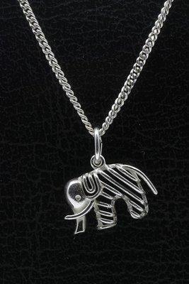 Zilveren Olifant open ketting hanger