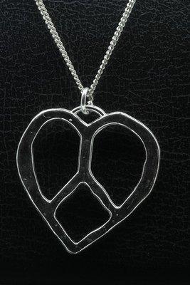 Zilveren Hart met vredesteken ketting hanger - massief