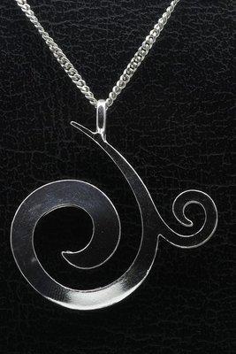 Zilveren Mooye - Curl ketting hanger