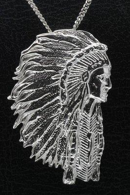 Zilveren Indiaan met tooi ketting hanger - groot