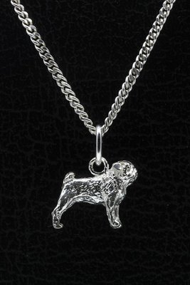 Zilveren Mopshond ketting hanger - klein