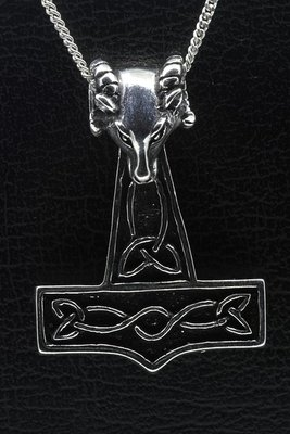 Zilveren Hamer van Thor met Ram ketting hanger - groot