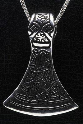 Zilveren Saksische bijl ketting hanger - zwaar
