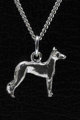 Zilveren Moonflower dog ketting hanger - klein