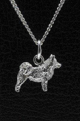 Zilveren Zweedse lappenhond ketting hanger - klein