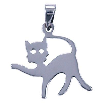 Zilveren Kat glad ketting hanger