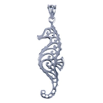 Zilveren Zeepaard opengewerkt ketting hanger