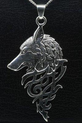 Zilveren Wolf gothic ketting hanger