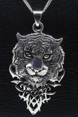 Zilveren Tijgerkop gothic ketting hanger