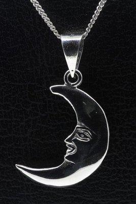 Zilveren Maan ketting hanger - 2