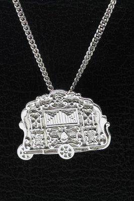 Zilveren Draaiorgel ketting hanger