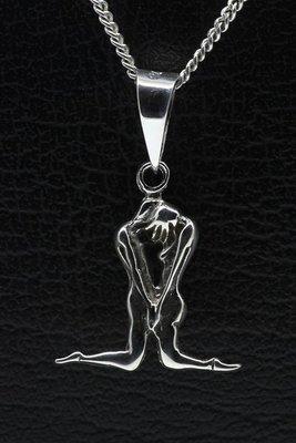 Zilveren Verliefd stel knielend ketting hanger