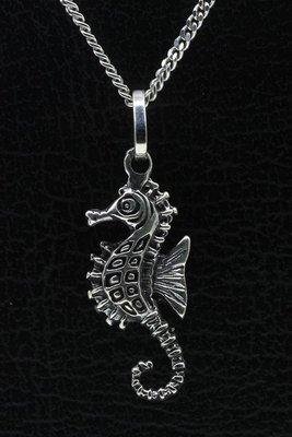 Zilveren Zeepaard detail ketting hanger