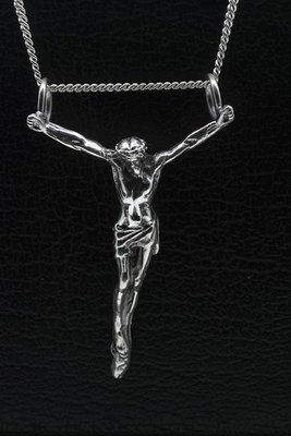 Zilveren Jezus dubbel oog ketting hanger