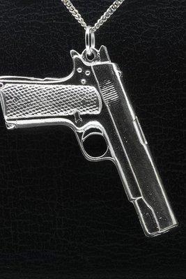 Zilveren Pistool XL grip rasp ketting hanger