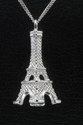 Zilveren Eiffeltoren XL ketting hanger