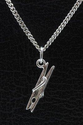 Zilveren Knijper ketting hanger