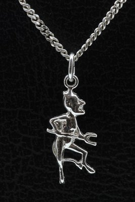 Zilveren Duiveltje ketting hanger