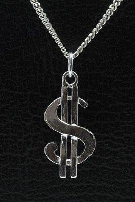 Zilveren Dollarteken ketting hanger