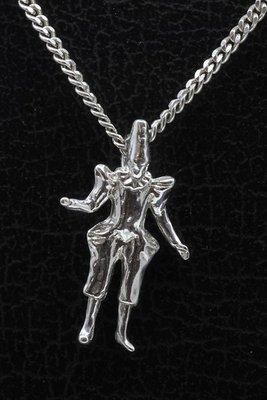 Zilveren Pierrot 2 ketting hanger