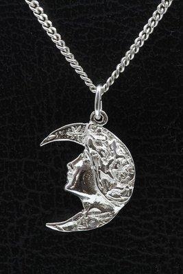 Zilveren Jugendstill - Art Deco - Vrouwengezicht op maan ketting hanger