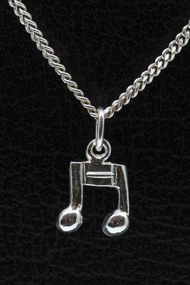 Zilveren Muzieknoten middel ketting hanger