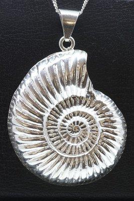 Zilveren Slakkenhuis ammoniet XL ketting hanger