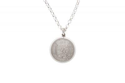 Zilveren 1 Gulden munt 1954 t/m 1967 in zilveren rand ketting hanger