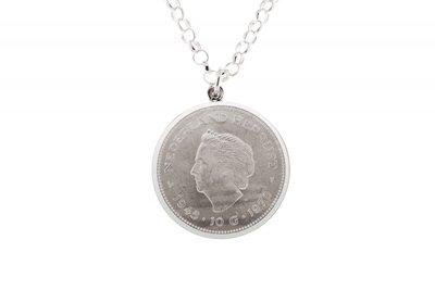 Zilveren 10 Gulden bevrijding munt in rand ketting hanger