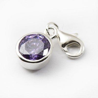 Zilveren Kristalgeslepen lila in zilveren vatting armband bedel