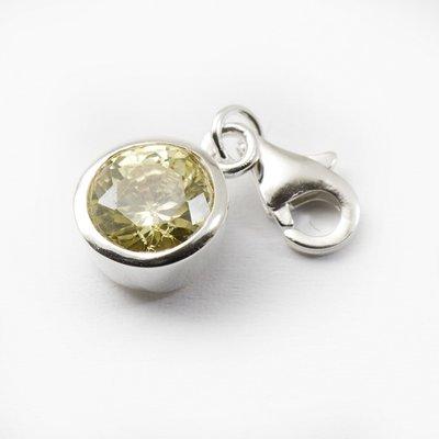 Zilveren Knop geel kristalgeslepen armband bedel