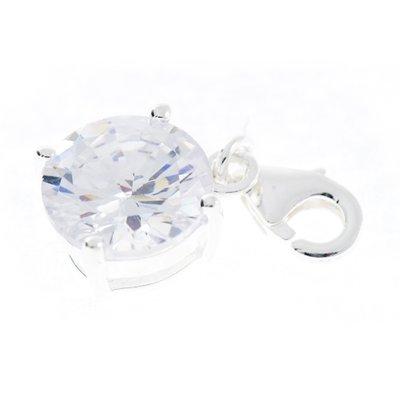 Zilveren Kristalgeslepen helder in 4-punt vatting armband bedel