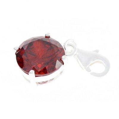Zilveren Kristalgeslepen rood in 4-punt vatting armband bedel