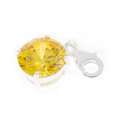 Zilveren Kristalgeslepen geel in 4-punt vatting armband bedel