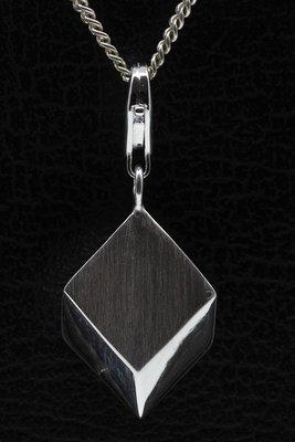 Zilveren Vrije vorm vierkant 3D hanger en/of bedel