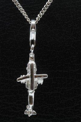Zilveren Helicopter hanger en/of bedel