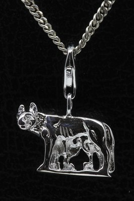 Zilveren Romulus met Remus en Wolvin hanger en/of bedel