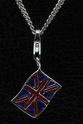 Zilveren Engelse vlag hanger én bedel