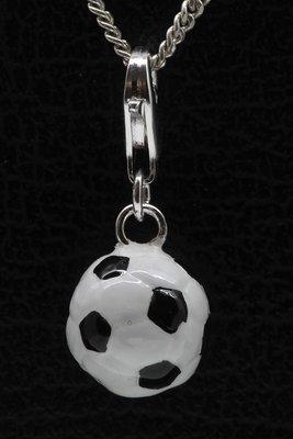 Zilveren Voetbal zwart/wit hanger en/of bedel