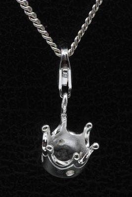 Zilveren Kroon met zirkonia hanger en/of bedel