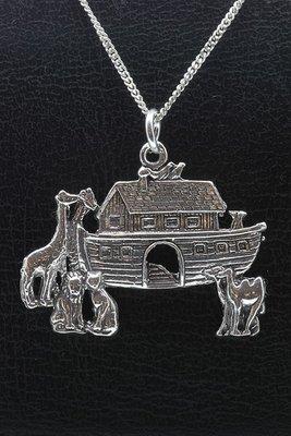Zilveren Ark van Noach XL ketting hanger